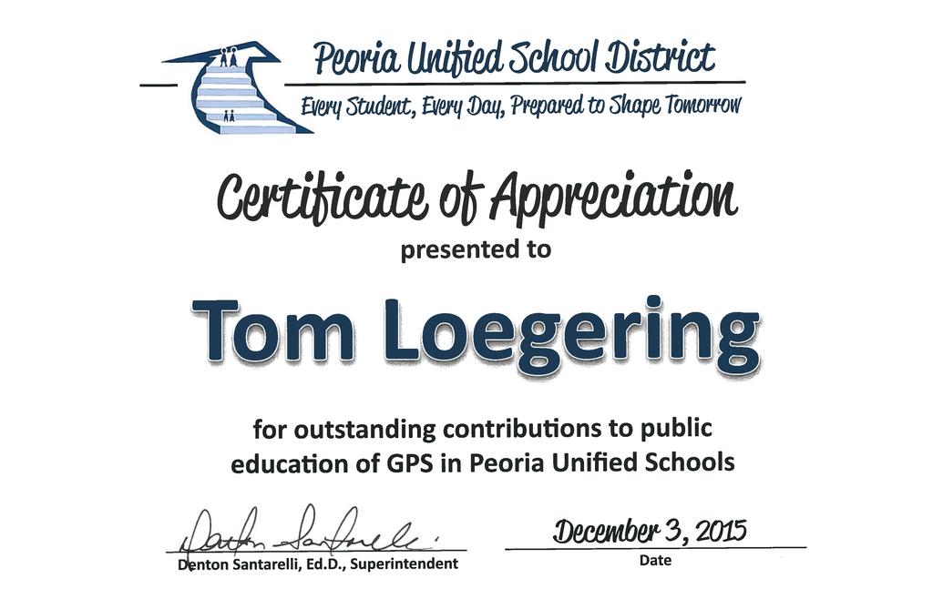 PUSD Certificate of Appreciation